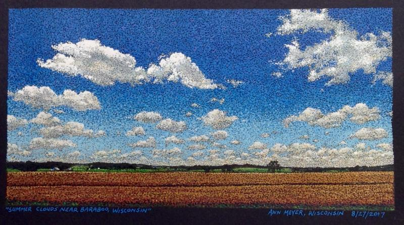 """Summer Clouds near Baraboo, Wisconsin,"" by Ann Meyer, West Bend, WI. 7""x3 3/4"", acrylic ink on Fabriano paper. 8/27/2017."